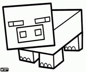 Un Cerdo De Minecraft Para Colorear Pintar E Imprimir Minecraft Coloring Pages Minecraft Pig Coloring Pages