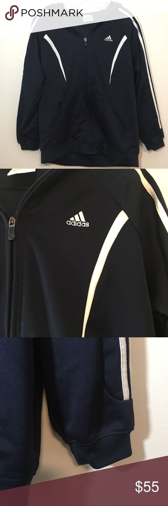 Adidas Mens Full Zip Sweater Hoodie Three Stripe Adidas Mens Full Zip Sweater Hoodie Three Stripe - Size Large  - Condition Great Can be worn by girl as oversized and slouchy sweater FLAT Measurements  Bust 21 Length 25 Sleeve length 25 1/2 (neck down) ✨NO TRADES / NO MODELING ✨ ✨YES, I do consider reasonable offers✨ :87 adidas Sweaters