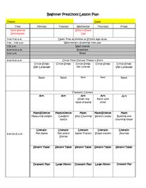 Beginner Preschool Lesson Plan Template