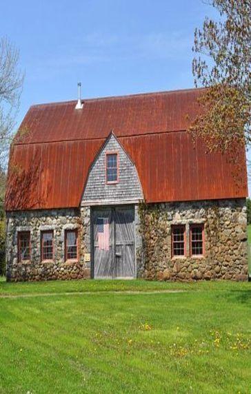 Old Stone Barn & Old Glory On Door