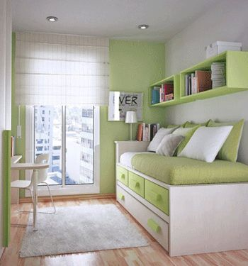 Possible idea for long thin spare bedroom, although possibly more neutral colours instead of greens
