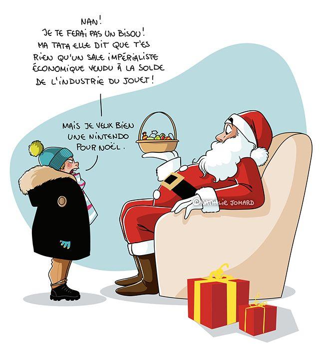 Nathalie Jomard - http://grumeautique.blogspot.fr | Noël humour dessin,  Noël humour, Dessin humoristique