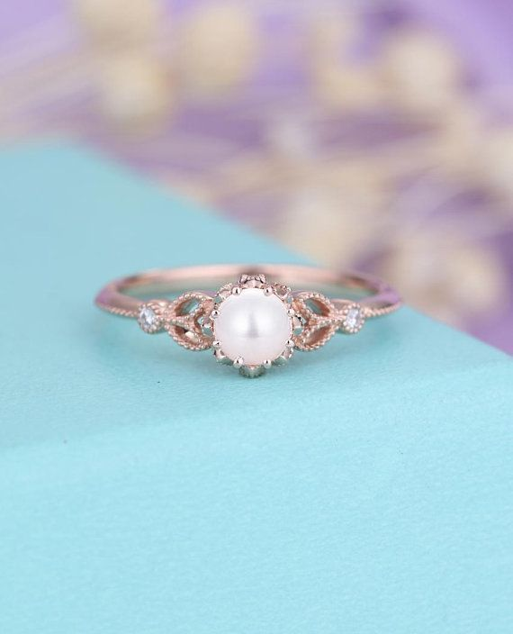 Pearl Engagement Ring Rose Gold Vintage Engagement Ring Women