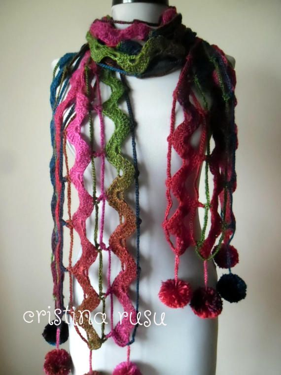 Multicolor  Crochet scarf  Lace Shawl Wrap by CrisColourCrochet