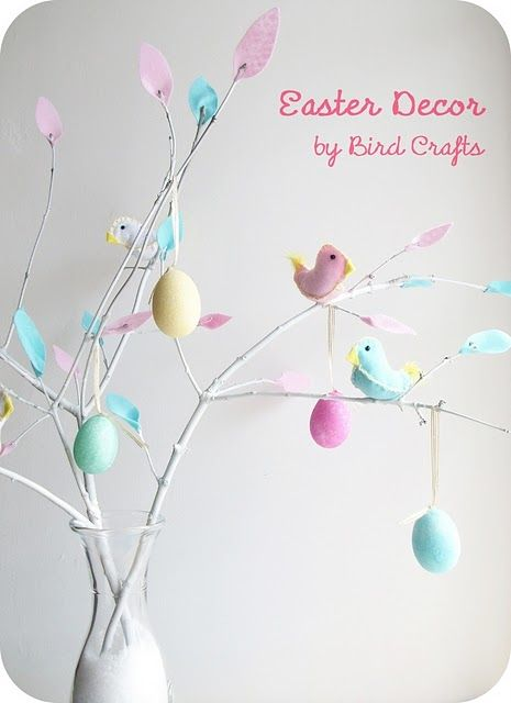 Easter tree - I could spray paint some tree branches & do this. Would be easy & cute!  So cute!