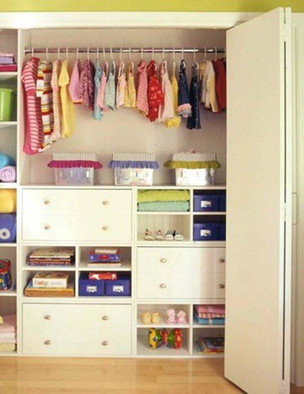 toddler girl closet organization - maybe with one less row of drawers and one more bar?