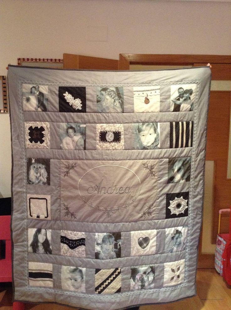 Manta patchwork con fotos familiares regalo para mi madre - Como hacer mantas de patchwork ...