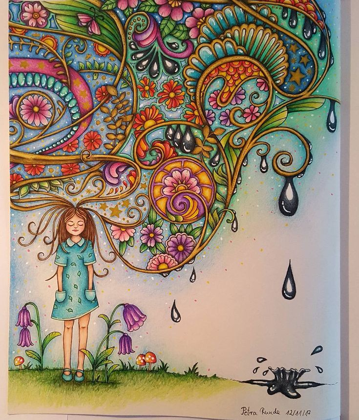 A page from Johanna Basfords 'Ivy and the inky butterfly'. I've done this for a project in a facebook group. The right side will be my next WIP. The background with the white, yellow and pink dots and the adding of drops of ink is inspired by the version of @drawing_n_coloring_ I used Prismacolors, Posca pens (white, yellow and pink) and signo uni-ball gel pen (white and gold). #inkyivy #johannabasford #showyourcolor #showyourcolours #ivyandtheinkybutterfly #prismacolors #poscapen…