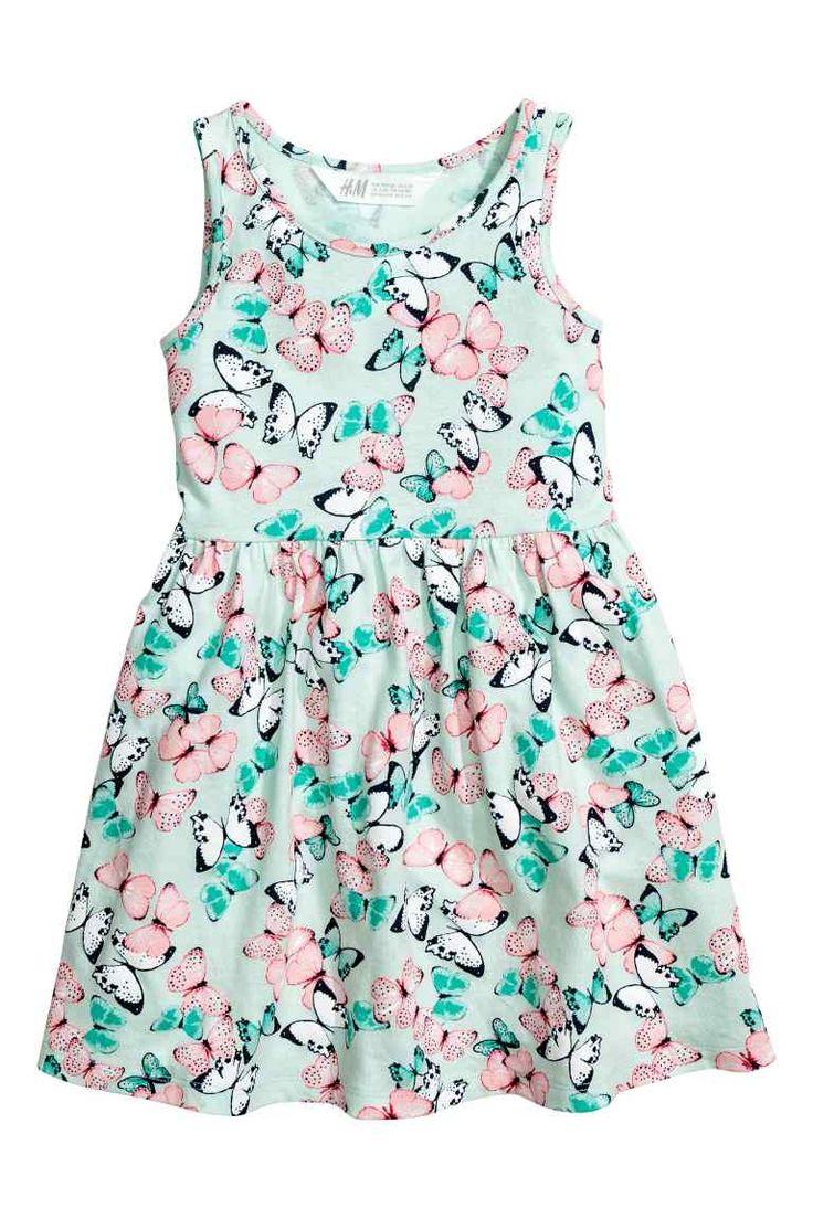 Tricot jurk met dessin - Mintgroen/vlinders - KINDEREN | H&M NL