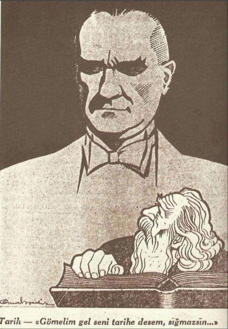 """Atatürk öldükten hemen sonra Cemal Nadir Güler'in Akşam Gazetesi'ne çizdiği karikatüründe; Mehmet Akif Ersoy'un """"Çanakkale Şehitlerine"""" adlı şiirinin """"Gömelim gel seni tarihe desem, sığmazsın"""" mısrası yer almaktadır...."""