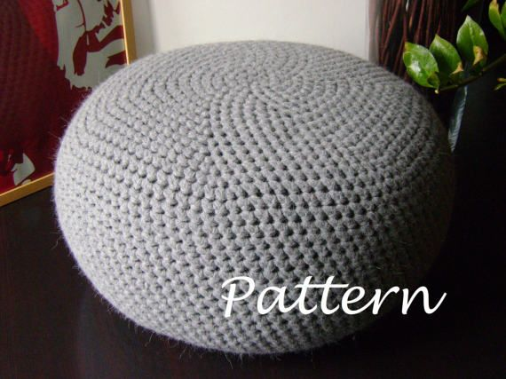 """FORMAT: PDF, 7 pages, 0.8 MB (mobile devices friendly). The pattern is written row-by-row and includes a lot of pictures. Easy to follow. Includes complete explanation of pouf and simple inside bag making process. Pouf is crocheted in round and has no seam. LEVEL: easy. SIZE: ▪ Diameter 65 cm (26 """") ▪ High 35 cm (14"""") MATERIALS: • Super Bulky yarn • Fabric to make inside bag • Stuffing CROCHET HOOK: • 15 mm (US 19) LANGUAGE: English If you got any questions please don't hesitate to contac..."""