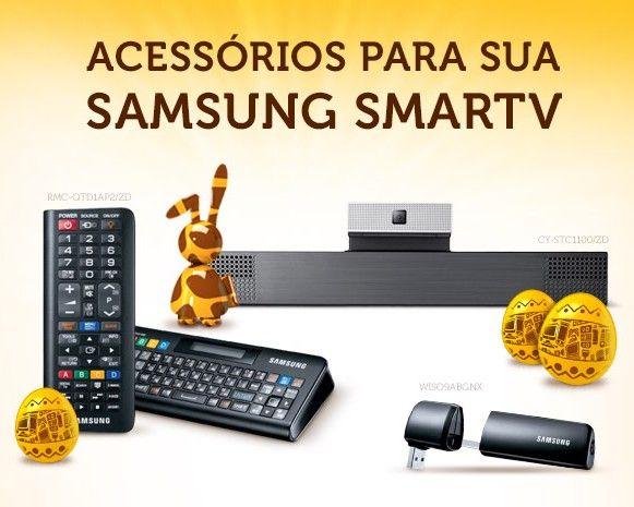 Confira os acessórios incríveis para complementar sua Smart TV Samsung. Tem Adaptador Wireless para tv, Câmera Skype, Controle remoto e teclado para smartv, óculos 3d e kit wireless para home theater.