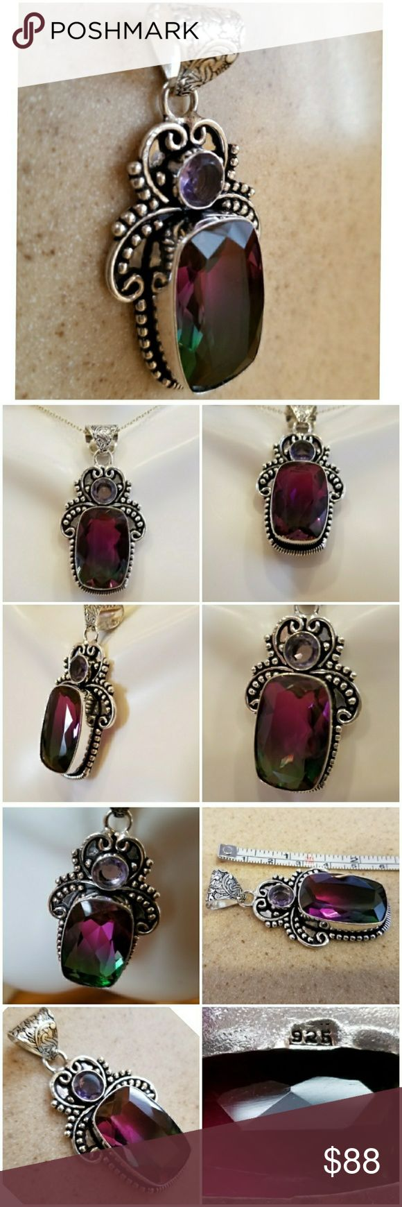 Genuine 42ct Bi-Colored Faceted Tourmaline Pendant Dark spunk to Forest Green with a pretty 3 ct Amethyst sitting above.  So much detail in the art design on this Beauty. Set in 925 stamped Solid Sterling Silver.  Please see all pictures for more detail. Brand New.  Never Worn.  WHOLESALE Prices Always! Jewelry Necklaces
