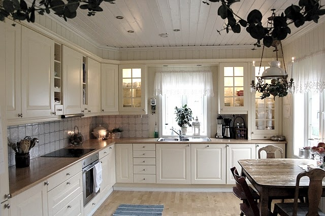 Scandinavian kitchen: Bead Board, Cabinet Cornice, Above Cabinets, Decorating Ideas, Country Kitchen, Dream Kitchens