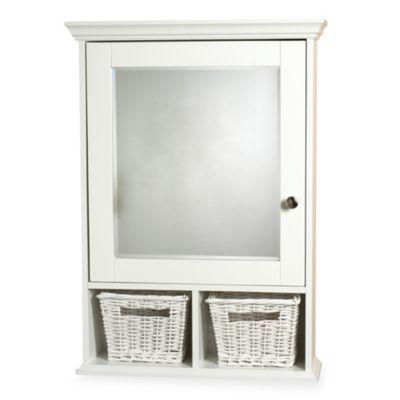 white medicine cabinet with wicker baskets
