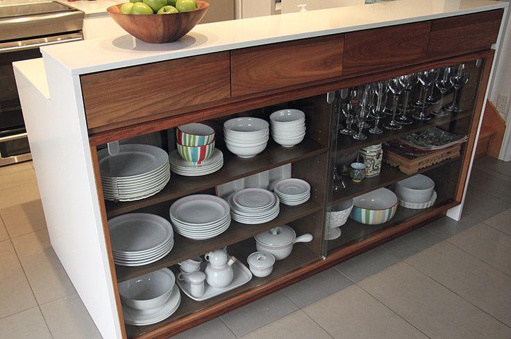 vaisselier, cuisine contemporaine, bois et blanc