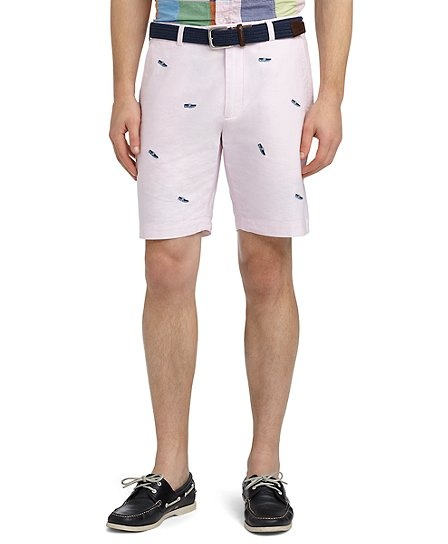 Plain-Front Boat Shoe-Embroidered Oxford Bermuda Shorts - Brooks Brothers
