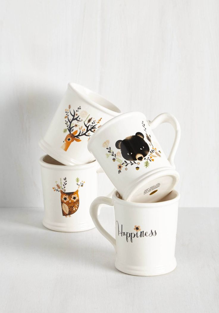 Acquaintance is a Virtue Mug Set. Gather a trio of friends in your home, filling this set of white ceramic mugs with their tea of choice, and ease into the afternoon. #multi #modcloth
