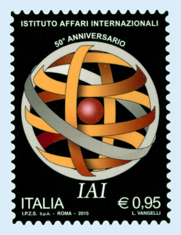 Francobollo celebrativo per il 50° anniversario dell'Istituto Affari Internazionali (IAI), l'Associazione senza fini di lucro costituita per diffondere la conoscenza dei problemi internazionali nei campi della politica estera, dell'economia e della sicurezza.