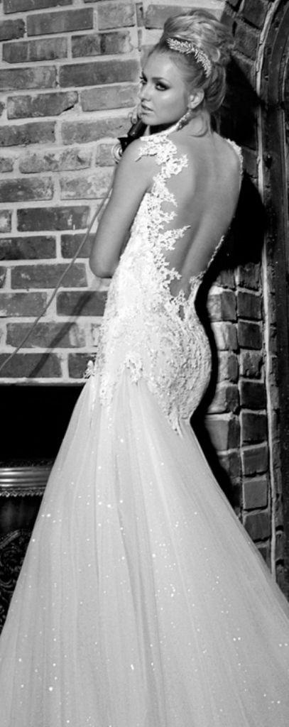 Bride's loose top bun updo bridal hair ideas Toni Kami Wedding Hairstyles ♥ ❶ jeweled headpiece, backless wedding gown dress ornate lacework