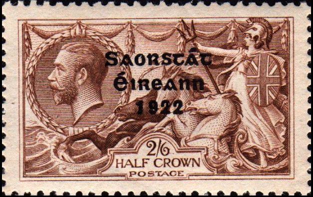 Irish Free State three-line overprint Saorstát Éireann 1922 on 2/6 King George V stamp engraved by J.A.C. Harrison