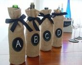 Burlap Wine Bottle Bags with Message Labels - Set of 4 - Suggested by FOOD & WINE Magazine. $20.00, via Etsy.: Burlap Wine, Gifts Bags, Wine Tasting Parties, Bottle Bags, Burlap Bags, Wine Bottle, Blinds Wine, Parties Ideas, Wine Bags
