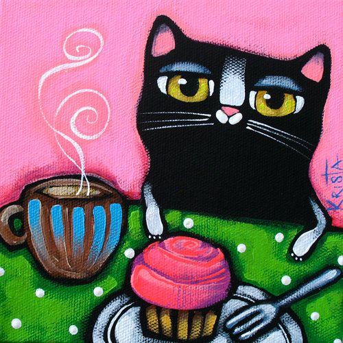 CAT with COFFEE and CUPCAKE Folk Art Cat Print by kristaartstudio