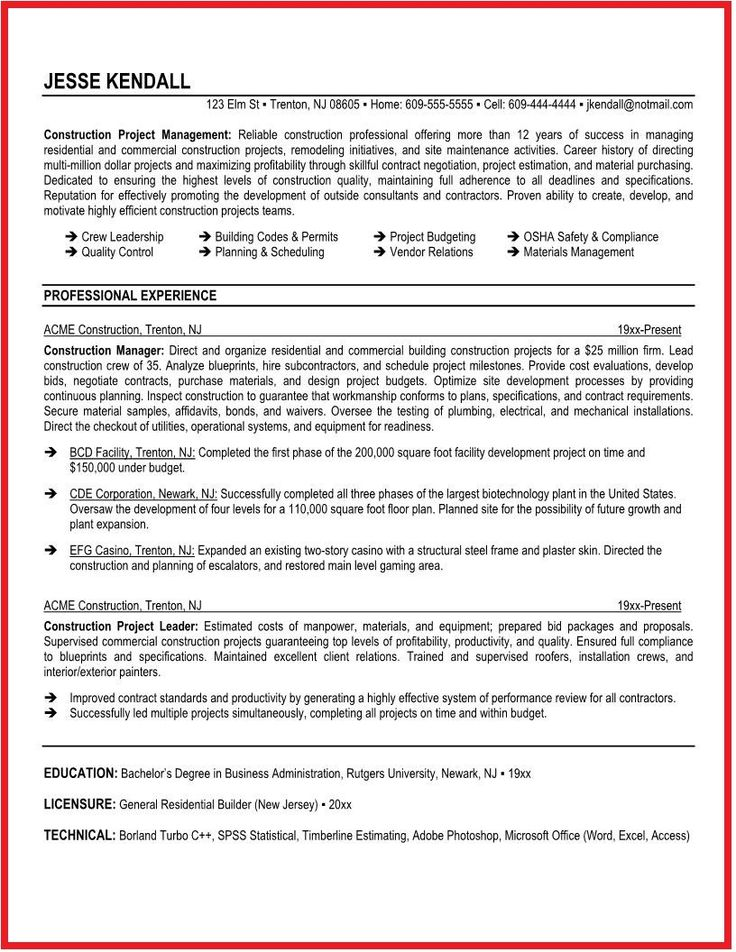 12 best Resume Examples images on Pinterest Best resume template - resume for construction