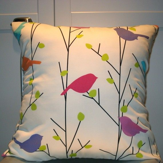 New 18x18 inch Designer Handmade Pillow Case in cream with color birds