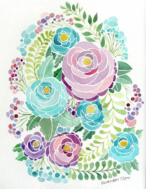 Purple and Blue Flower Watercolor  Painting Print by ladypoppins, $4.00