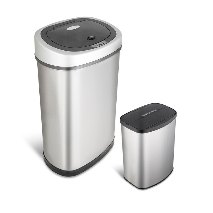 Nine Stars Motion Sensor Stainless Steel 2 In 1 Combo Bathroom/ Kitchen  Trash Can Set (Kitchen And Bathroom Trash Can 2 Piece Set), Silver, ...