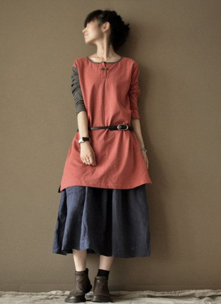 loose cotton  dress  cotton coat GREY and RED by clothingshow, $68.00
