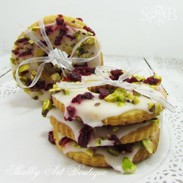 Lemon, Cranberry and Pistachio wreath cookies