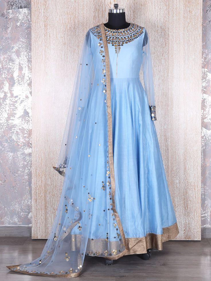 Raw Silk Sky Blue Anarkali Suit