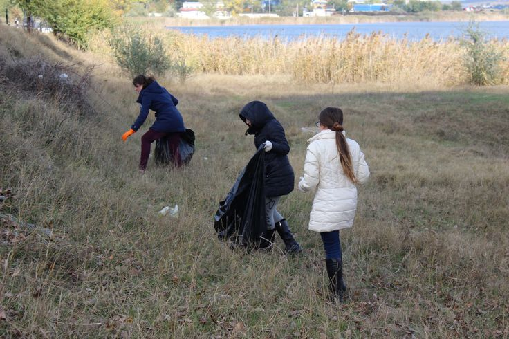 Cleaning up the shore of the lake in Comrat, Moldova, during the Finals of the MEGA Impact 2015 Championship.