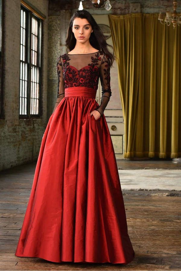 Theia Long Sleeve Evening Gown With