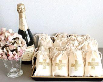 Hangover survival kit Survival kit Gold glitter cross