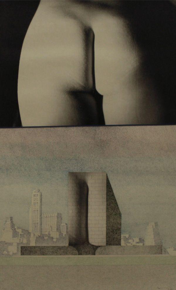 """Ico Parisi (1916-1996) UR7-1977 Utopia realizzabile """"Segni antropomorfi per l'architettura"""" 1977 chine colorate e collage fotografico / coloured Indian ink and photocollage 101,5 x 73 cm Como, Pinacoteca civica"""
