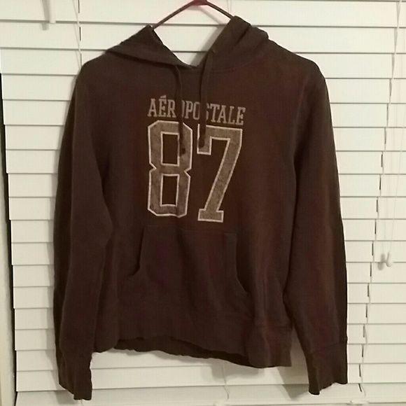 Brown hoodie Brown women's hoodie with tan logo. Aeropostale Tops Sweatshirts & Hoodies