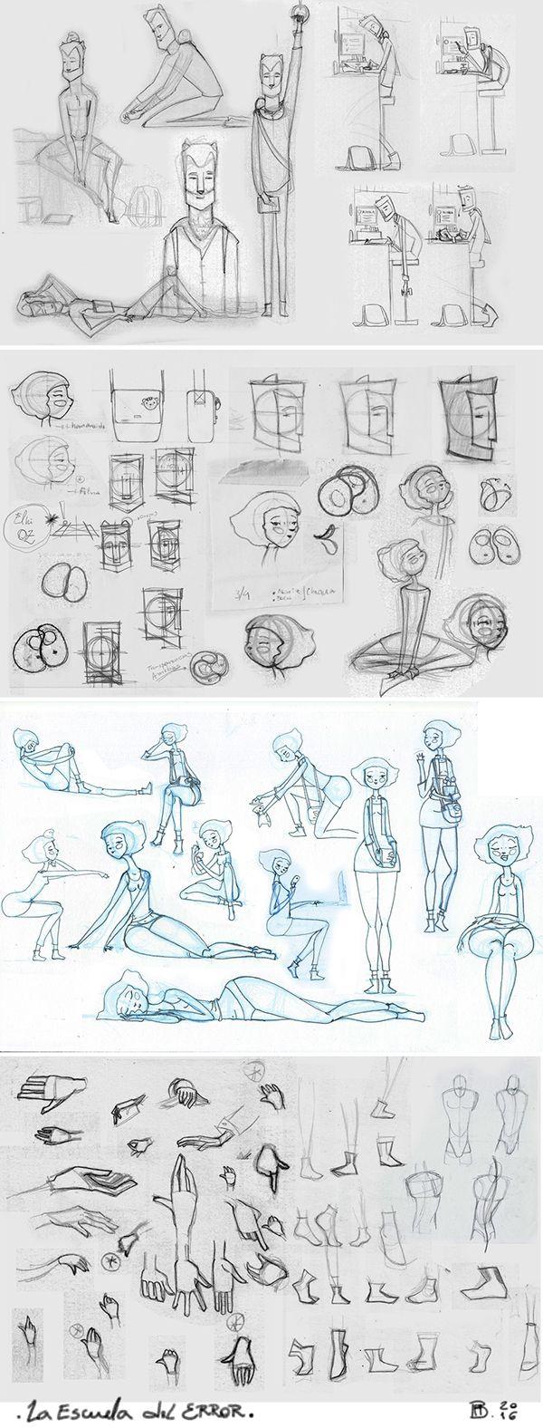 Algunos dibujos inspiracionales de la búsqueda inicial de los protagonistas. Elhi y Oz.