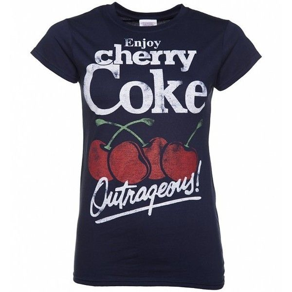 Women's Navy Enjoy Cherry Coke T-Shirt ($24) ❤ liked on Polyvore featuring tops, t-shirts, cherry top, navy t shirt, navy blue top, navy top and navy blue tee