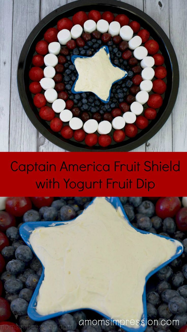 Captain America Fruit Shield with Yogurt Fruit Dip - An easy recipe for a Marvel Birthday party.
