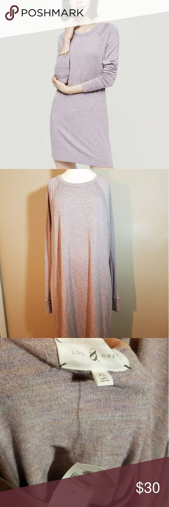 "Lou and Grey Signature soft Sweatshirt Dress Size XL. NWT. Amazingly soft.  21.5"" across chest,  41"" long. Purchased from Loft. Dress is slightly wrinkled. Lou & Grey Dresses Long Sleeve"