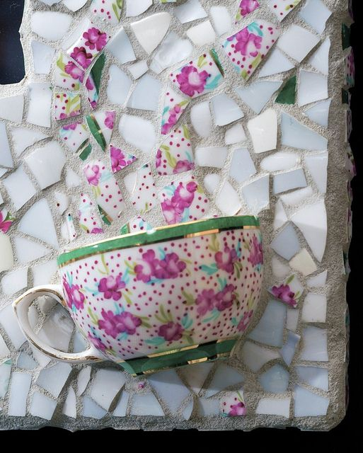 Great idea to use. Floral cup with steam. - Mosaic