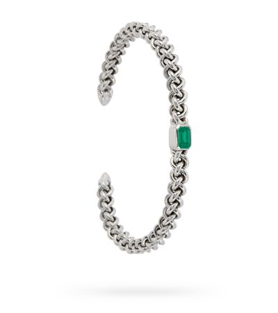 #BRACELET#925'#SILVER#EMERALD #RHODIUM#FINISH#MAXIMOS#JEWELLERY