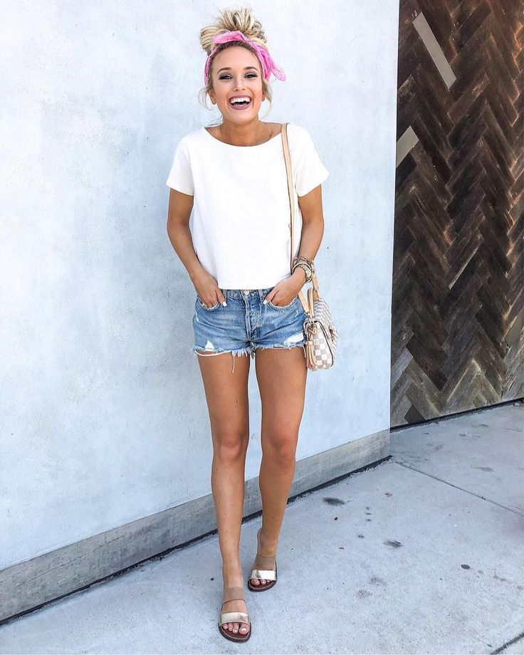 White Tee And Denim Shorts Casual Summer Outfit Cute Outfits