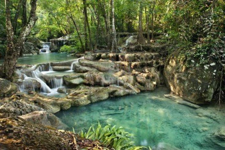 Waterfall in Erawan National Park, Kanchanaburi (Thailand)