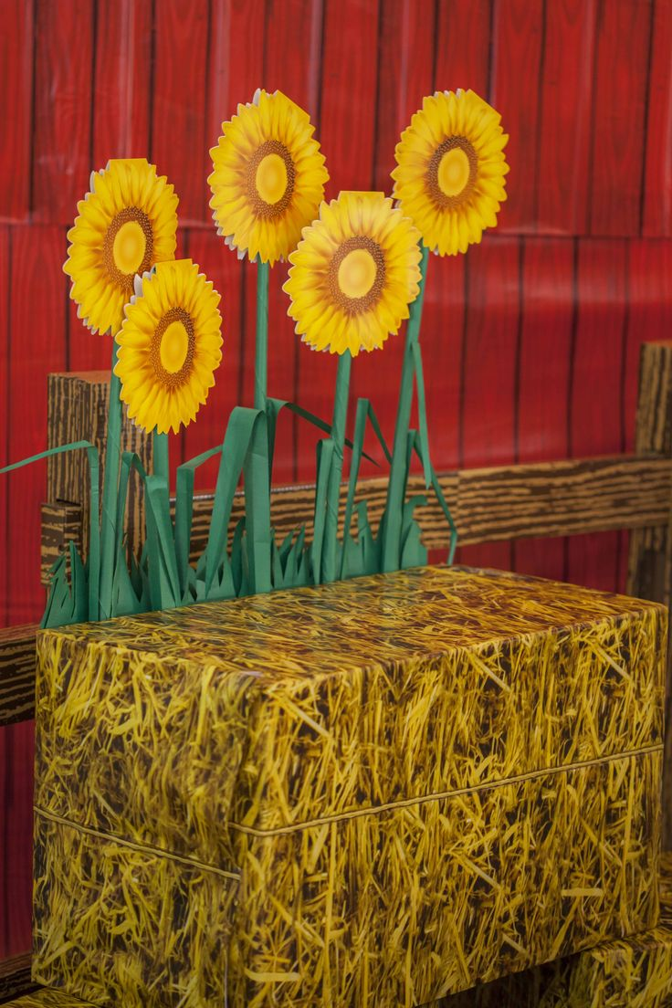 Hay bales/ quilts to sit on during Story time