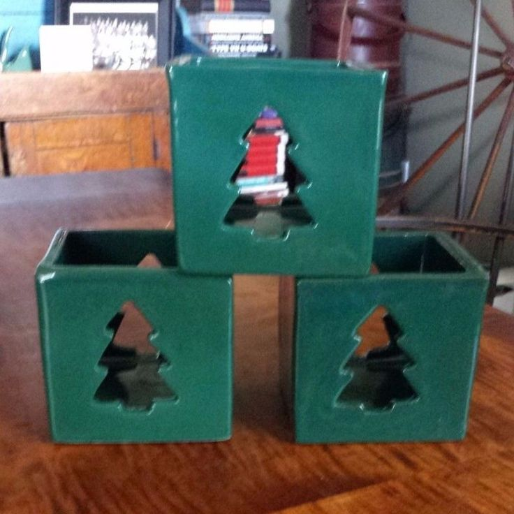 Bennington Pottery Three Green Christmas Tree Candle Holders