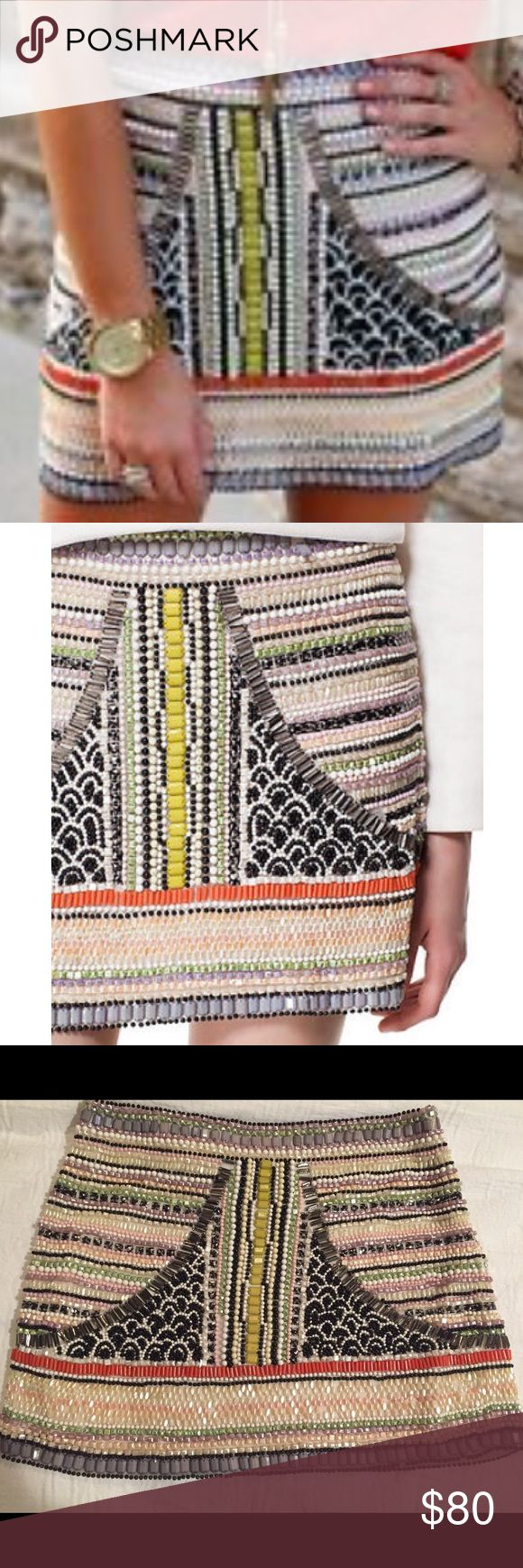 ZARA Aztec Embellished Skirt Size M RARE!! Worn once, mint condition! Blogger and celebrity favorite  Zara Skirts Mini